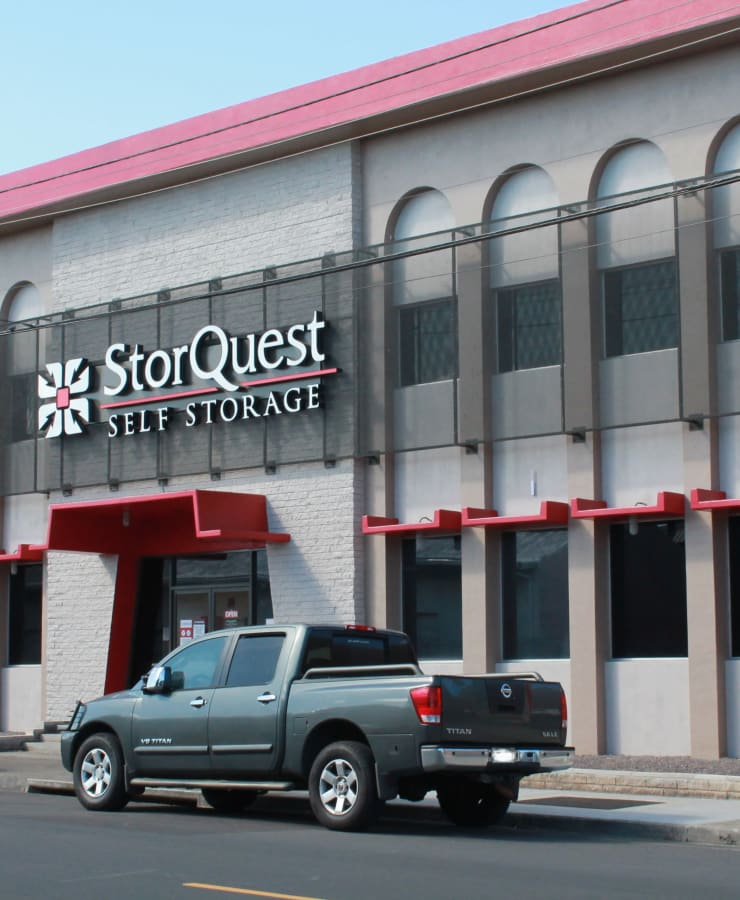 The exterior of the main entrance at StorQuest Self Storage in Honolulu, Hawaii