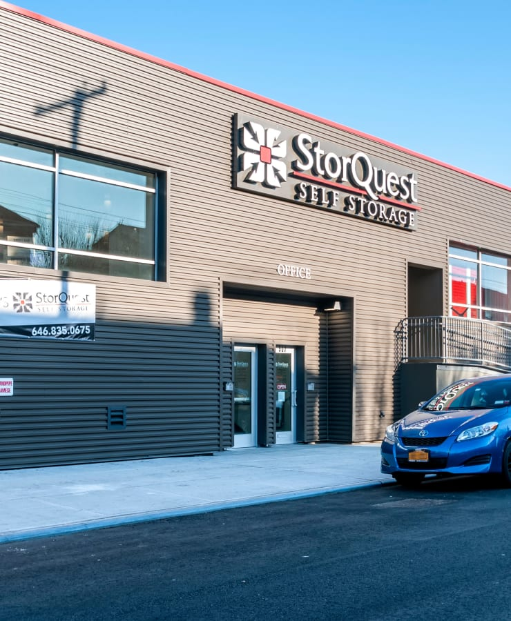 The exterior of the main entrance at StorQuest Self Storage in Brooklyn, New York