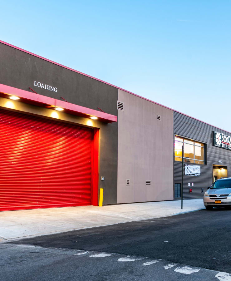 Facade of the loading area at StorQuest Self Storage in Brooklyn, New York