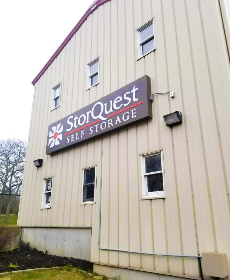 Building exterior of StorQuest Self Storage in Shirley, New York