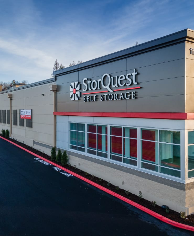 Front signage at StorQuest Self Storage in Lake Stevens, Washington