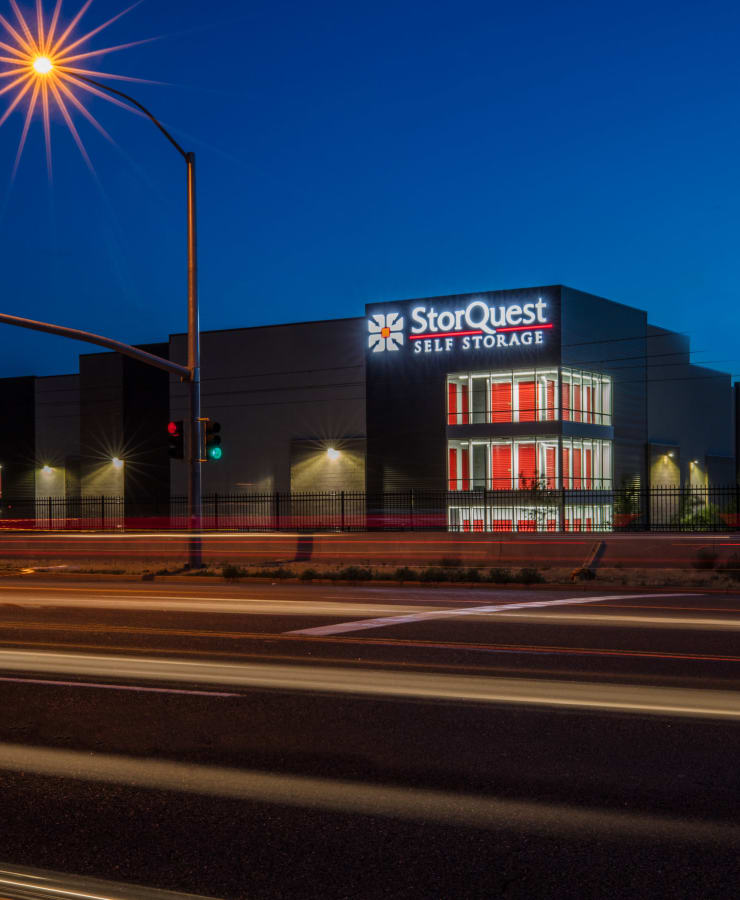 The exterior of the main entrance at StorQuest Self Storage in Aurora, Colorado