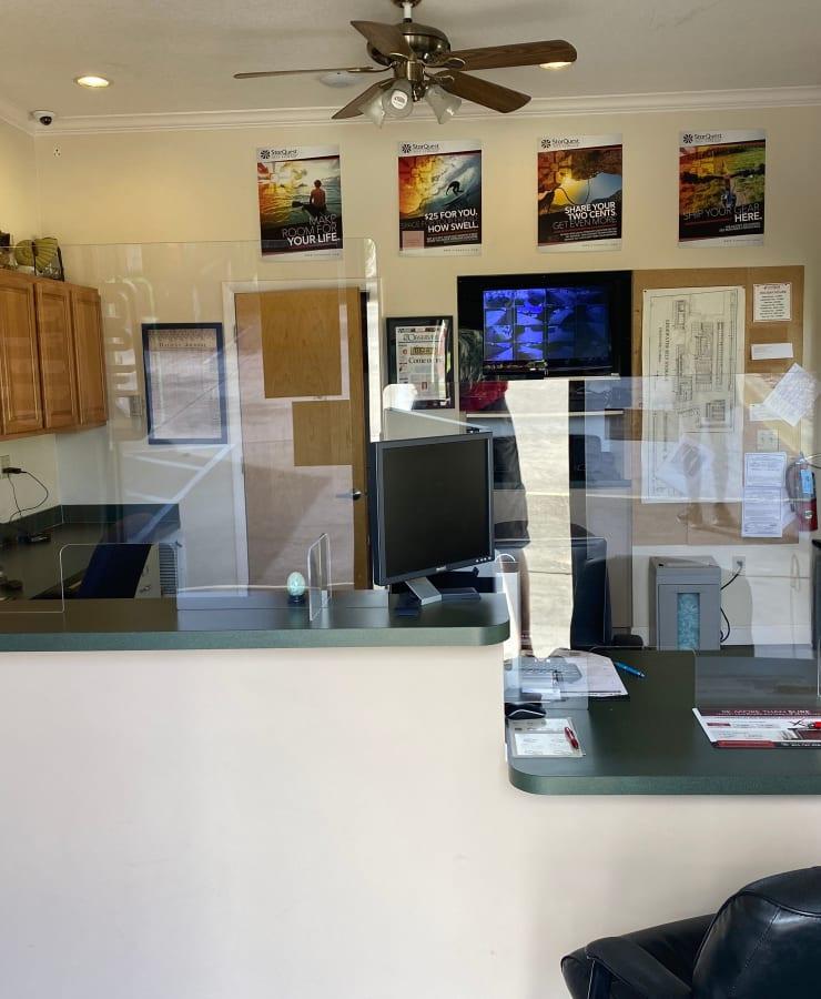 Interior of the leasing office at StorQuest Self Storage in Camarillo, California