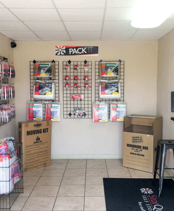 Packing supplies sold at StorQuest Self Storage in Canoga Park, California