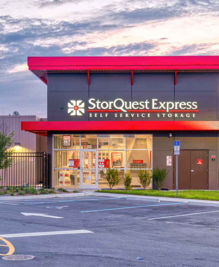 The exterior of the main entrance at StorQuest Express Self Service Storage in Castle Rock, Colorado
