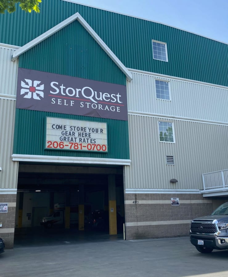 Exterior of the facility at StorQuest Self Storage in Seattle, Washington