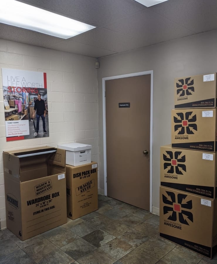 Moving boxes at StorQuest Self Storage in Westlake Village, California