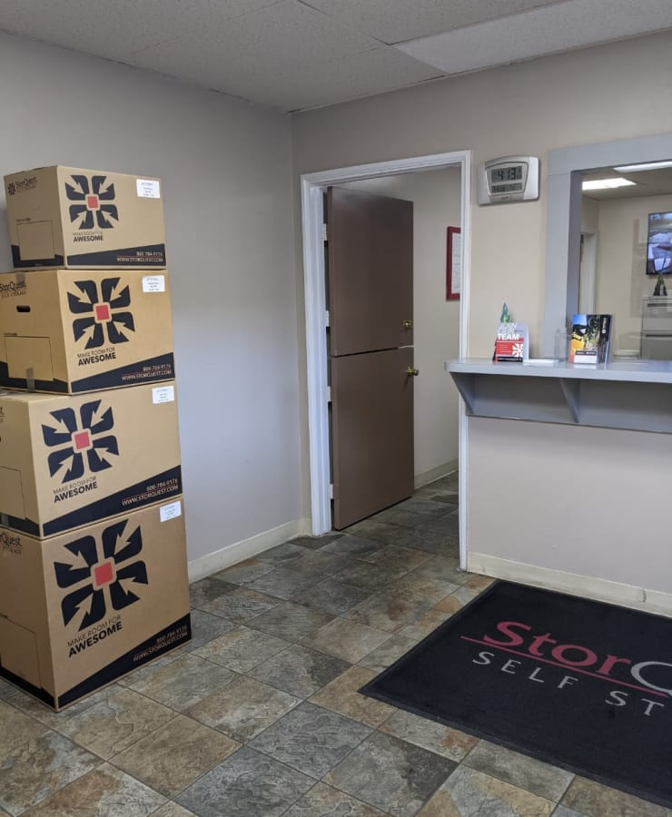 Boxes in the lobby at StorQuest Self Storage in Westlake Village, California