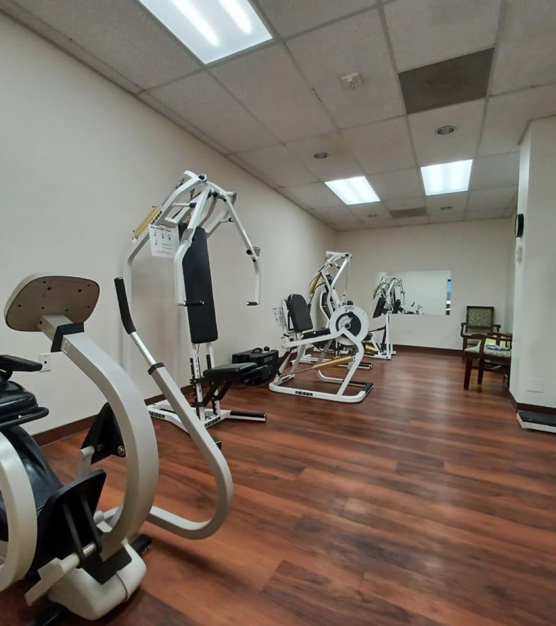 Fitness equipment offered at Pacifica Senior Living Menifee in Sun City, California.