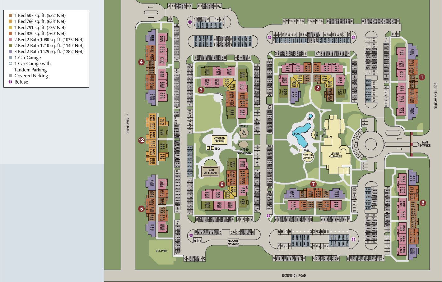 Site map of Southern Avenue Villas in Mesa, AZ