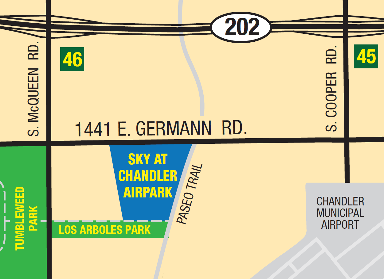 Location Map of Sky at Chandler Airpark in Chandler, Arizona