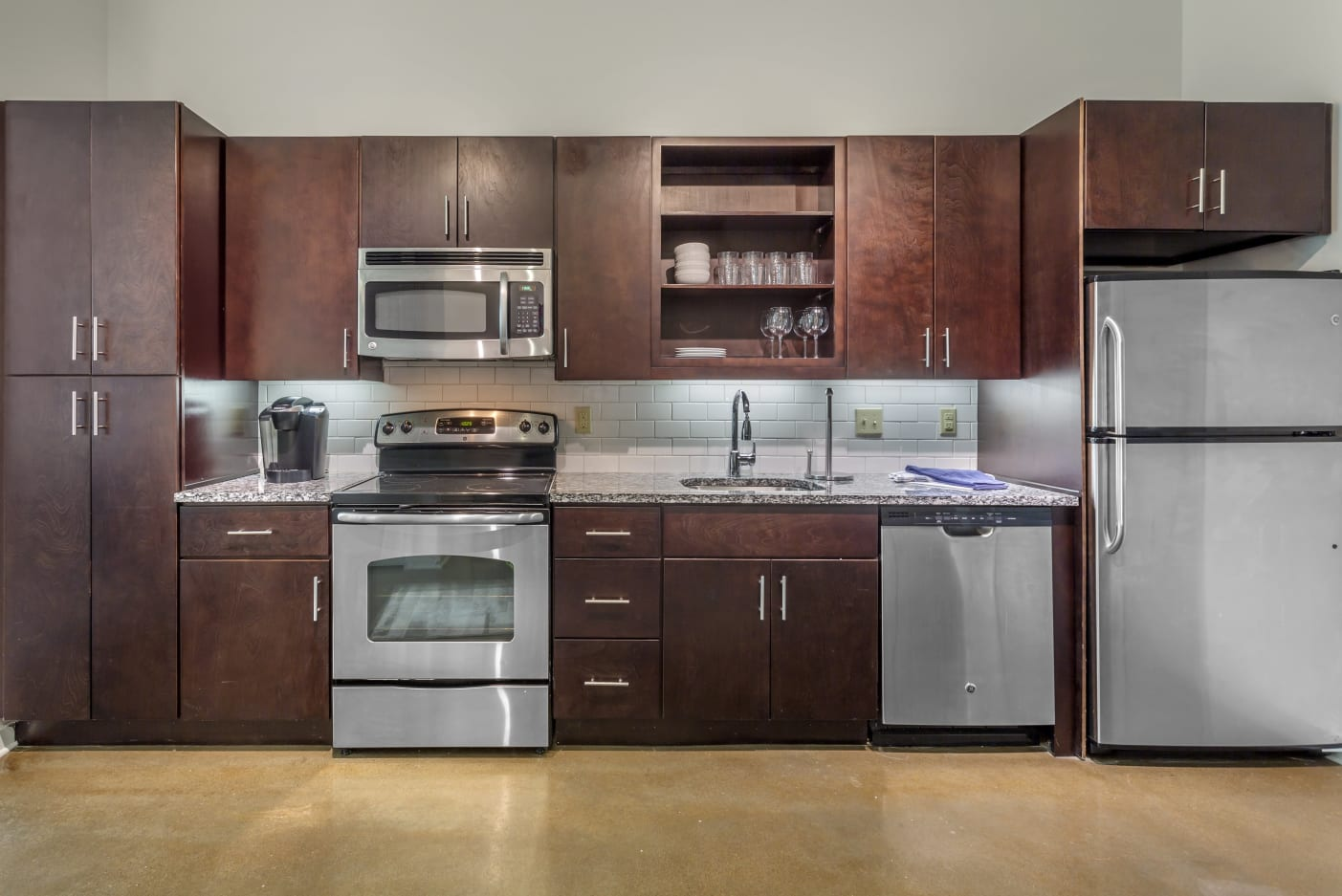 Custom kitchen cabinets at 12 South Apartments