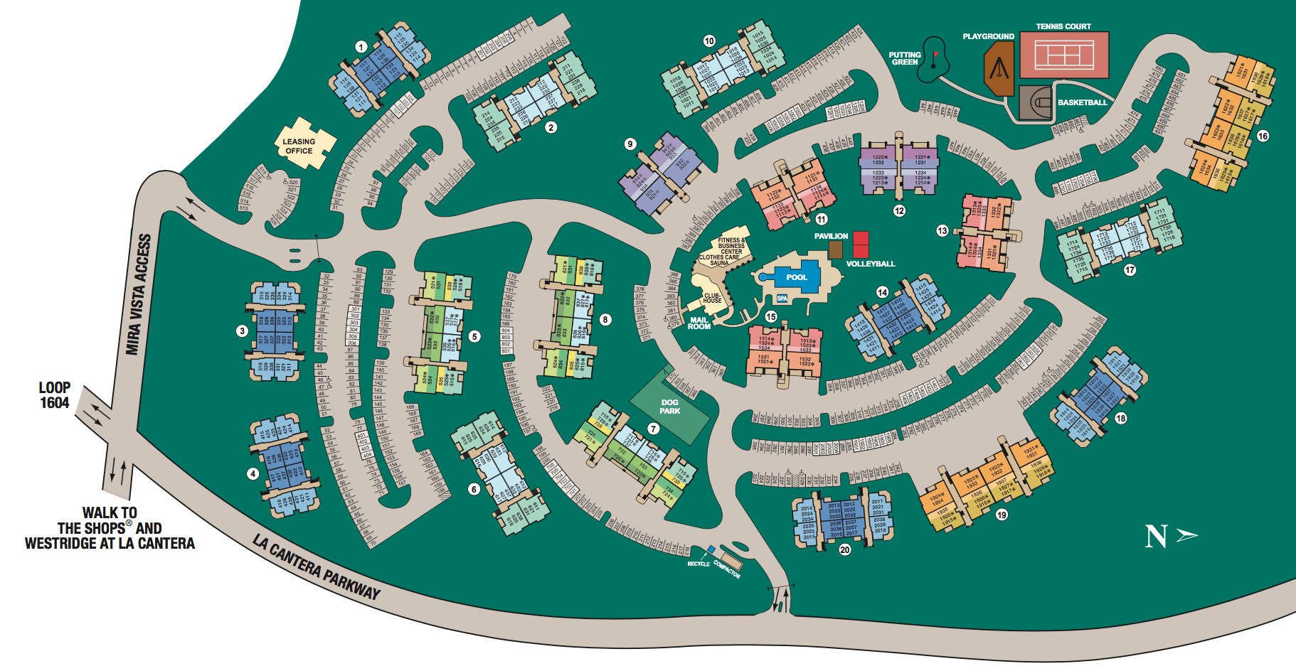 Site map of Mira Vista at La Cantera in San Antonio, TX