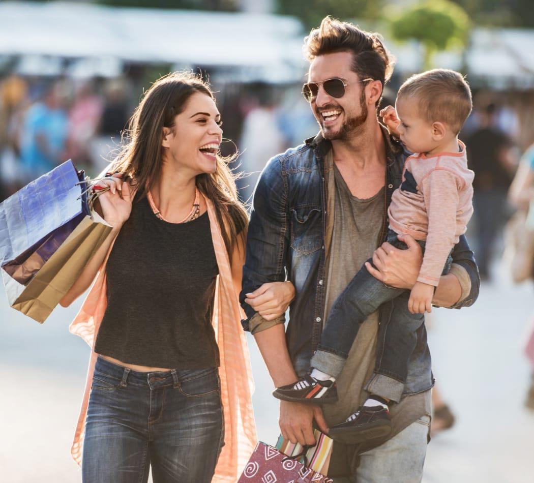 Family shopping near LaFayette Gardens