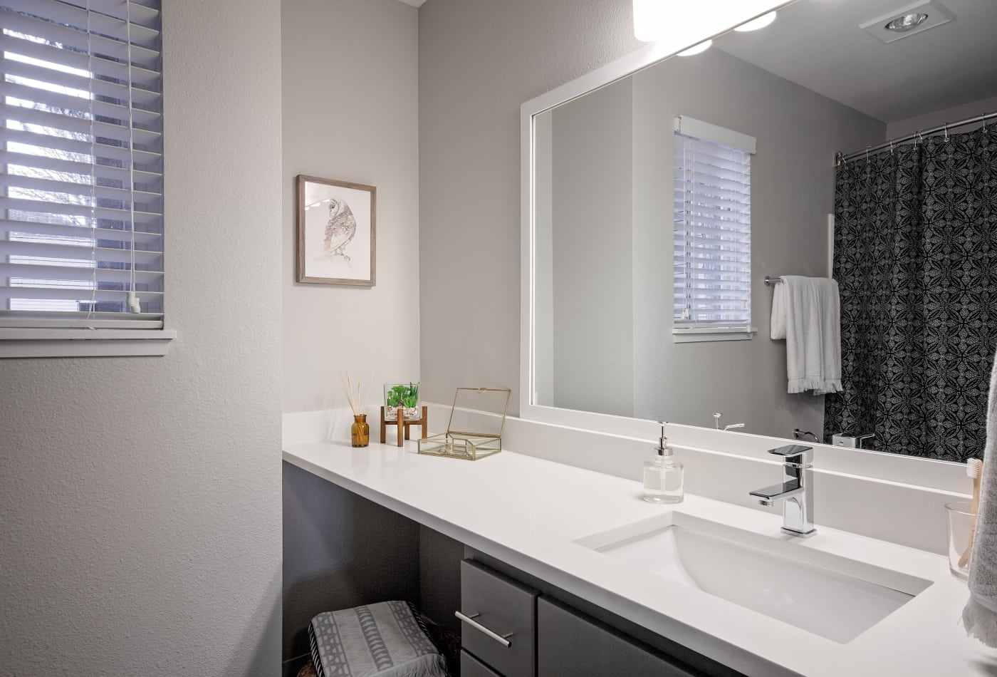 Modern and well-lit bathroom in model home at MiLO at Mountain Park