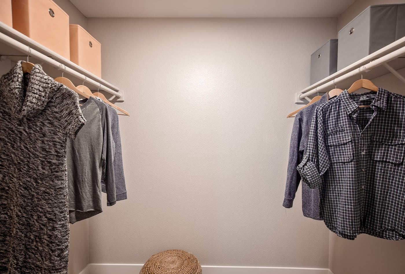 Walk-in closet with plenty of room in model apartment home at MiLO at Mountain Park
