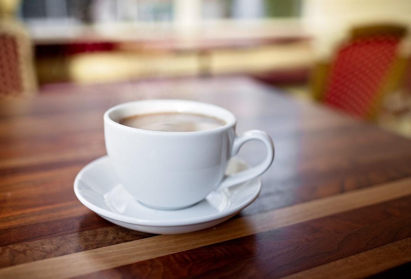 Closeup view of latte in Peet's in downtown Lake Oswego