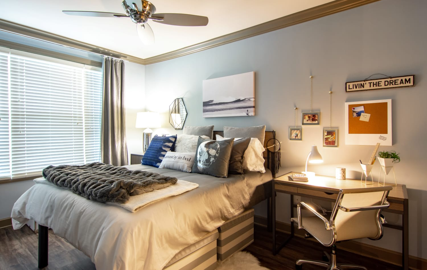 Newly updated bedroom at Emory Point in Atlanta, Georgia