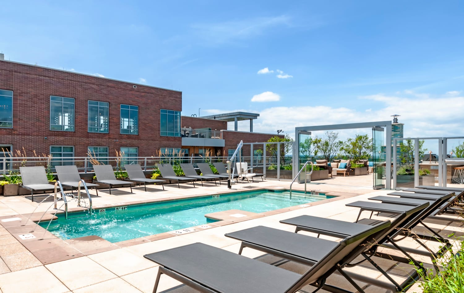 Rooftop deck and swimming pool at Gallery Bethesda II in Bethesda, MD