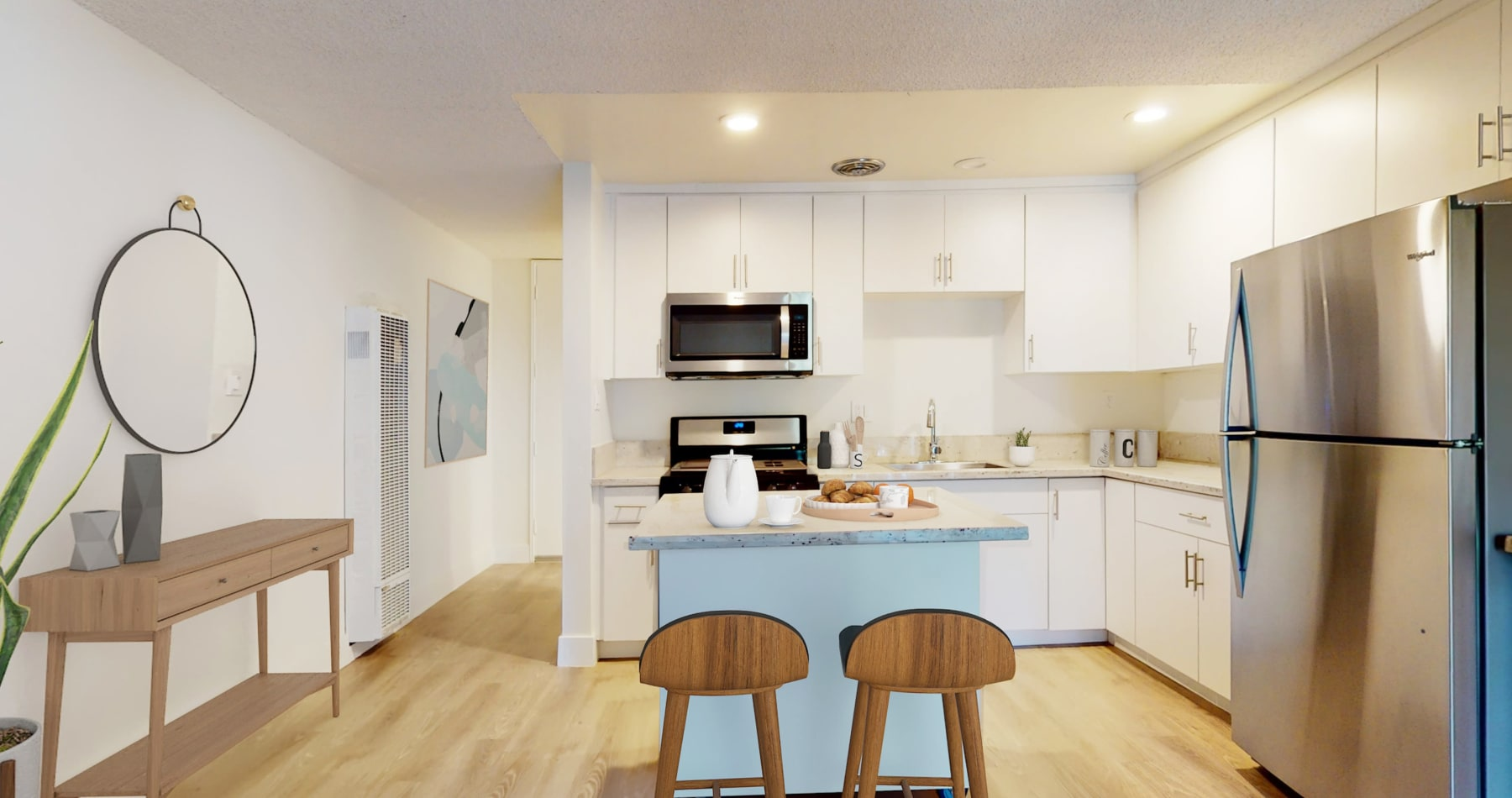 View a virtual tour of our studio apartment at Mediterranean Village in West Hollywood, California
