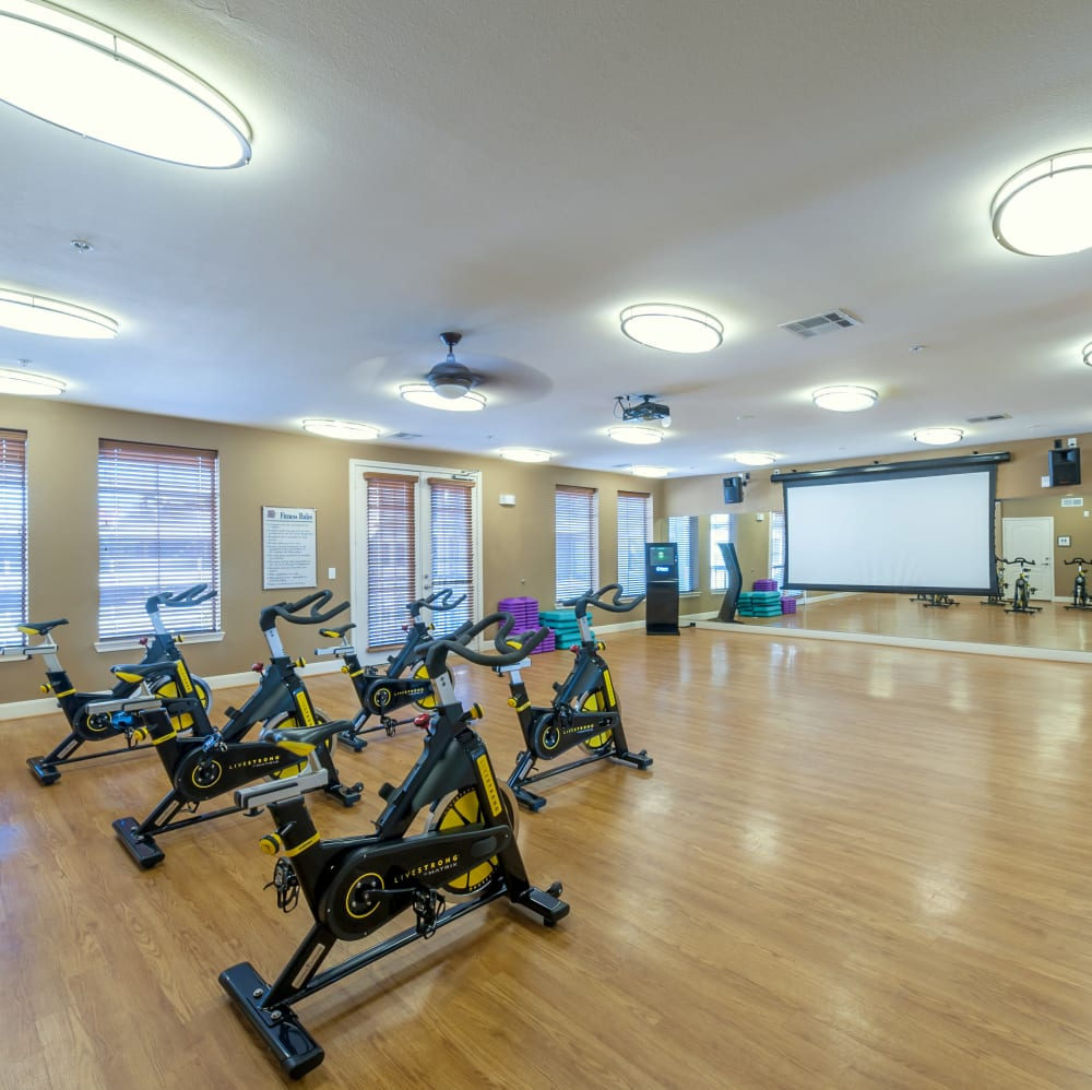 Fitness center spin room at The JaXon in Kingwood, Texas