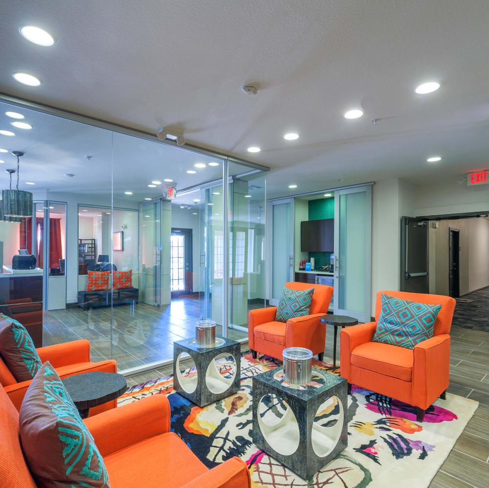 Community lounge at The JaXon in Kingwood, Texas