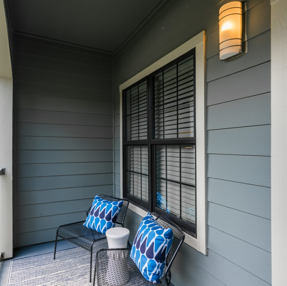 Resident porch at The JaXon in Kingwood, Texas