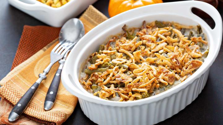 A dish of green bean casserole.