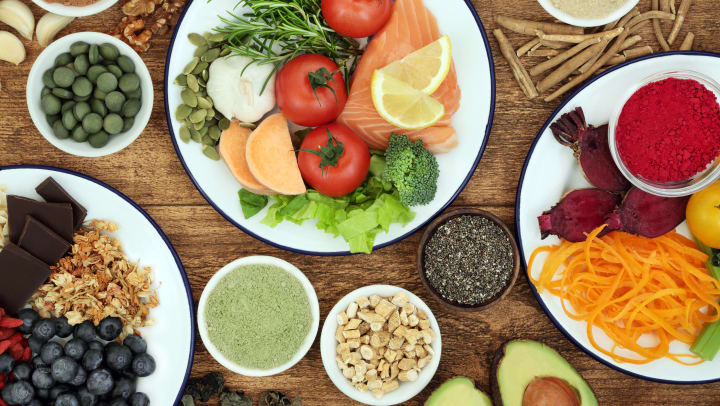 Plates of Healthy Food