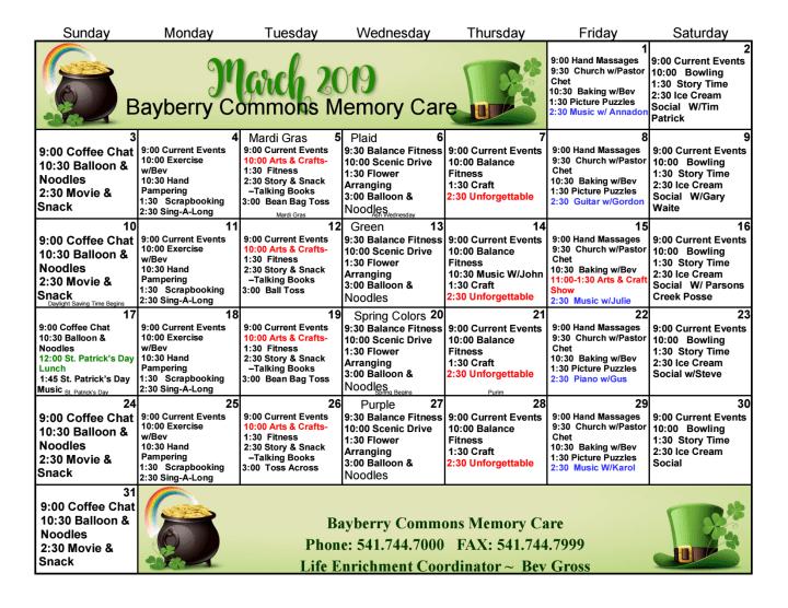 March Memory Care 2019 Calendar