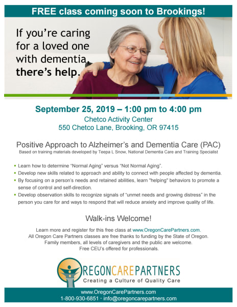 Invitation to Alzheimer's and dementia care event
