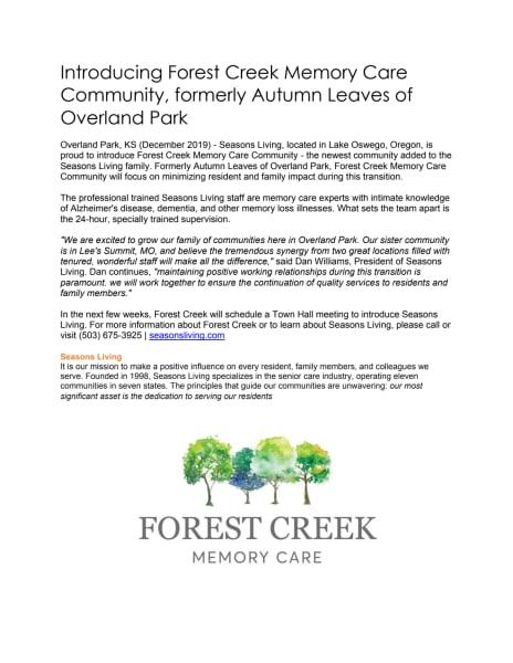 Forest Creek Announcement