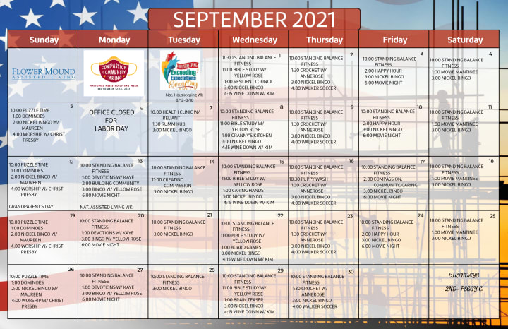 Activity Calendar for September 2021