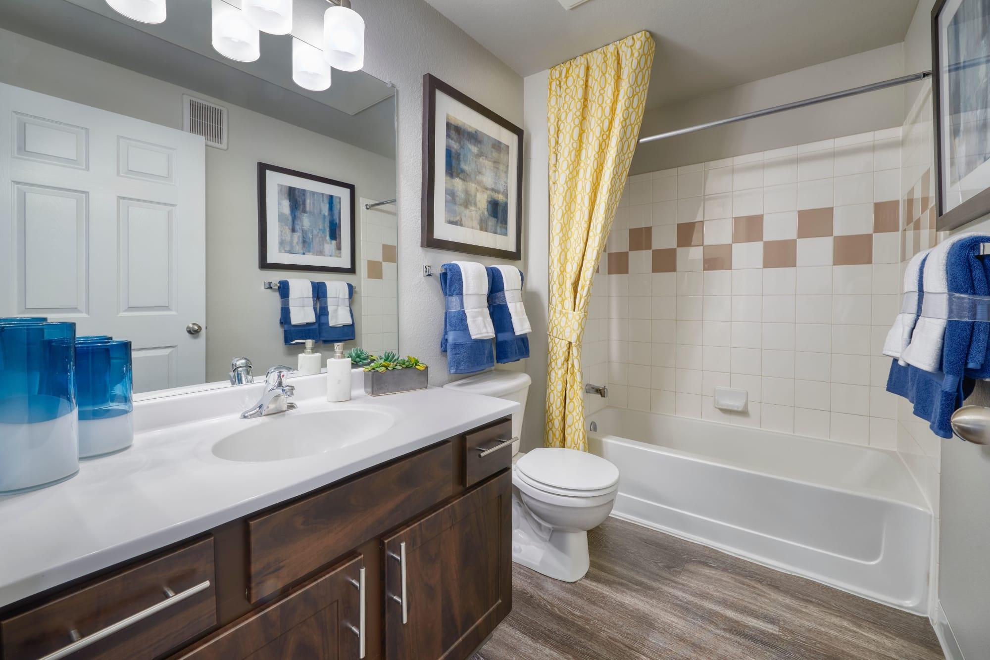 Renovated bathroom with espresso cabinetry at Bear Valley Park in Denver, Colorado