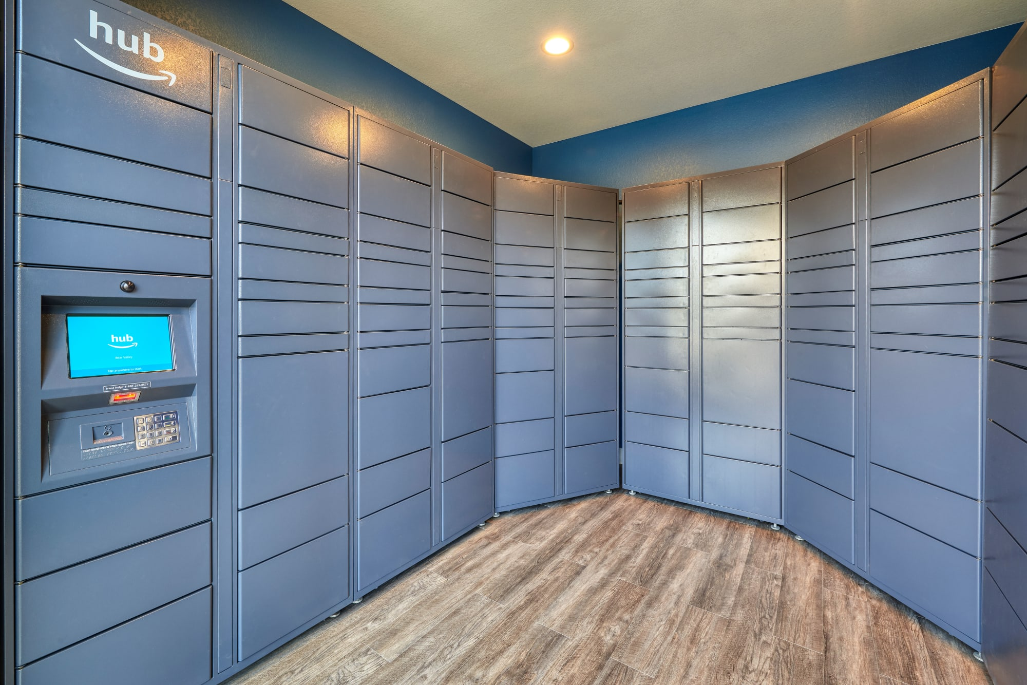 Package lockers with Amazon HUB at Bear Valley Park in Denver, Colorado