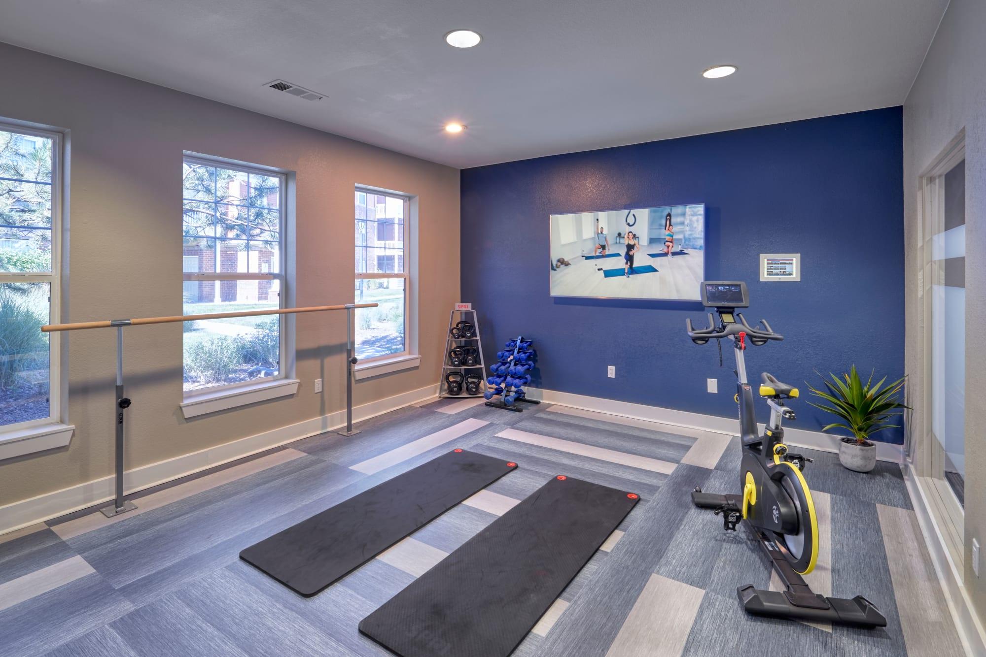 Fitness on demand room at Bear Valley Park in Denver, Colorado