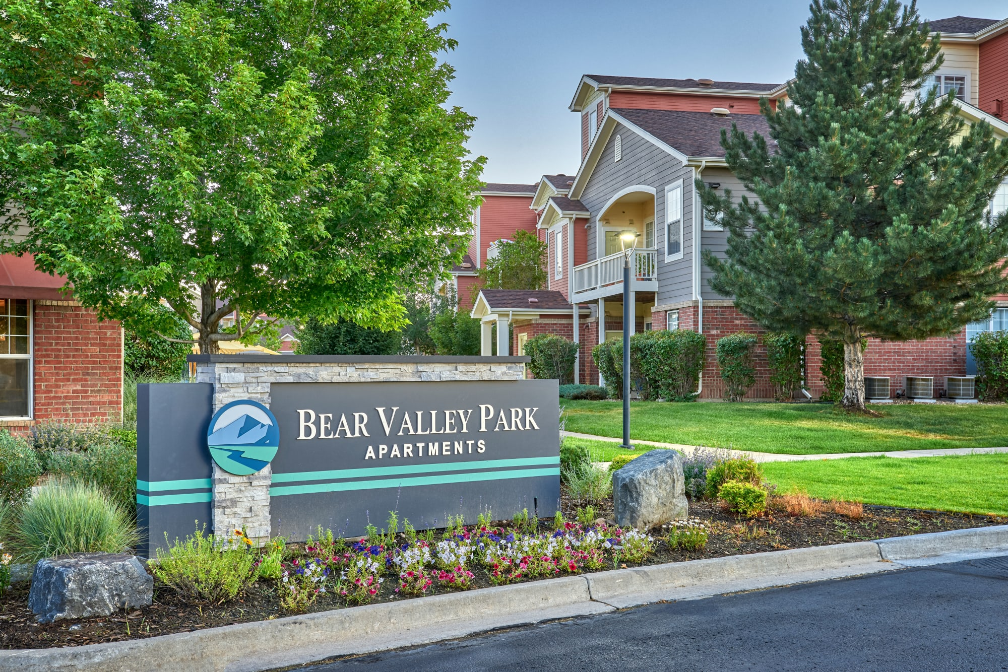 The monument sign at Bear Valley Park in Denver, Colorado
