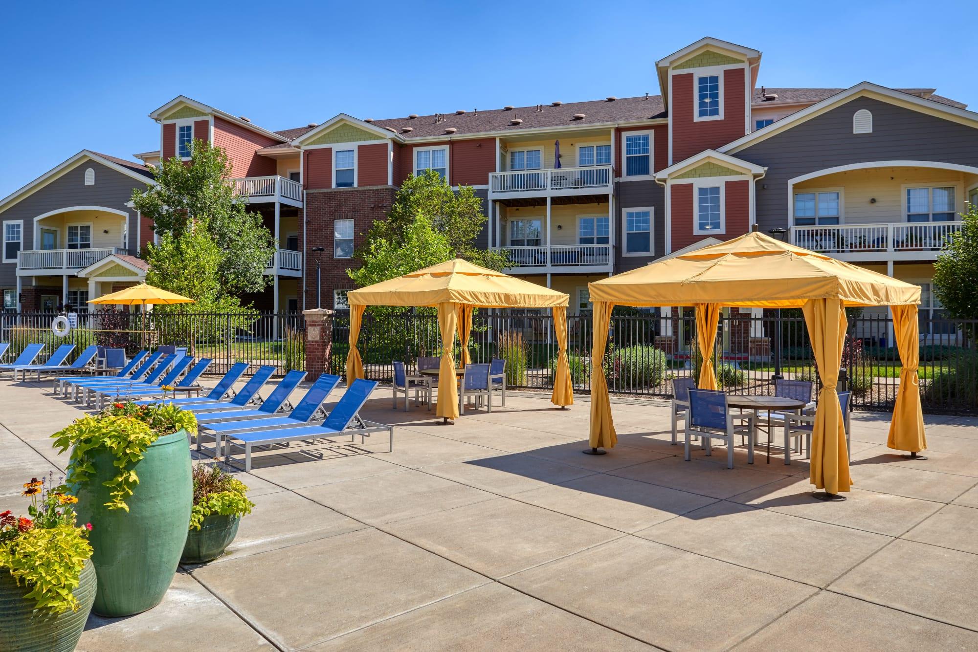 Poolside cabanas at Bear Valley Park in Denver, Colorado