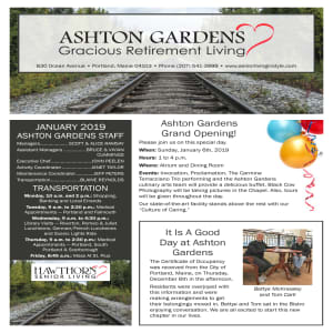 January Ashton Gardens Gracious Retirement Living Newsletter