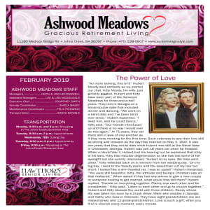 February newsletter at Ashwood Meadows Gracious Retirement Living in Johns Creek, Georgia