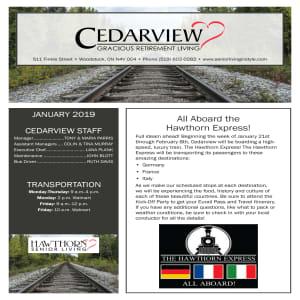 January Cedarview Gracious Retirement Living Newsletter