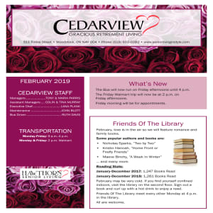 February Cedarview Gracious Retirement Living newsletter