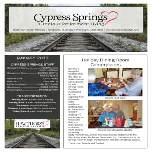 January Cypress Springs Gracious Retirement Living Newsletter
