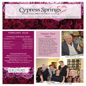February Cypress Springs Gracious Retirement Living newsletter