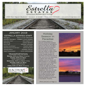 January Estrella Estates Gracious Retirement Living Newsletter