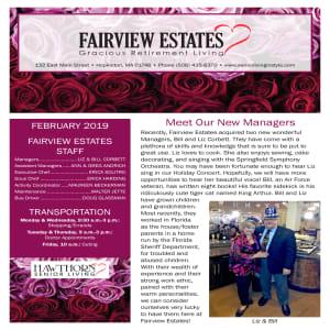 February Fairview Estates Gracious Retirement Living newsletter
