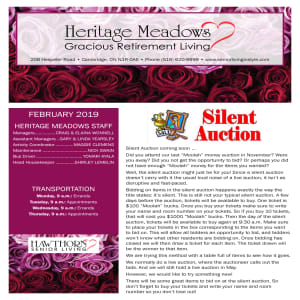 February Heritage Meadows Gracious Retirement Living newsletter