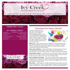 February Ivy Creek Gracious Retirement Living newsletter