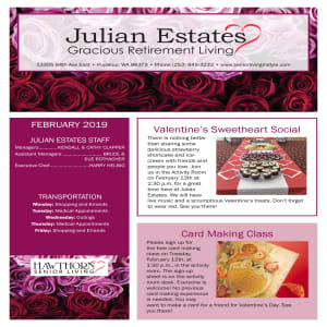 February Julian Estates Gracious Retirement Living newsletter