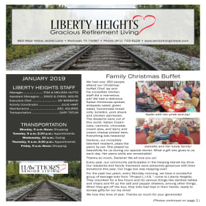 January Liberty Heights Gracious Retirement Living Newsletter